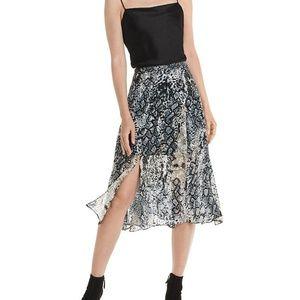 NWT ALICE + OLIVIA Athena Midi Silk Skirt